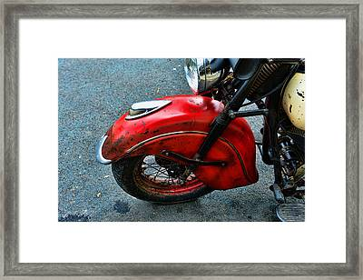 Indian Motorcycle Fender In Red Framed Print by Paul Ward