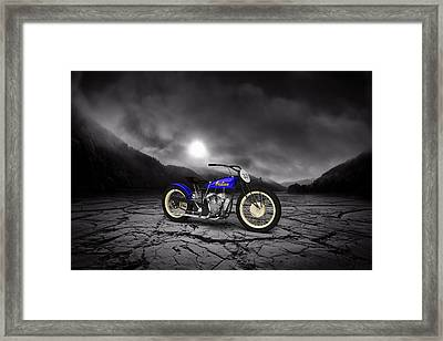 Indian Motorcycle Flat Track Racer 1928 Mountains Framed Print by Aged Pixel