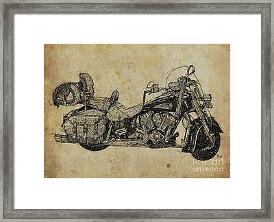 Indian Motorcycle On Vintage Background, Gift For Bikers, Man Cave Decoration Framed Print by Pablo Franchi