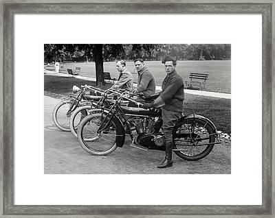 Indian Motorcycle Run C. 1920 Framed Print by Daniel Hagerman