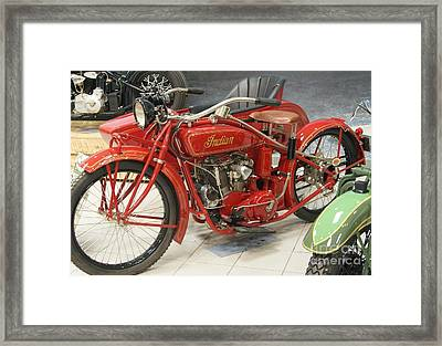 Indian Motorcycle With Side Car   # Framed Print by Rob Luzier