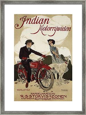 Indian Motorrywielen  C. 1915 Framed Print