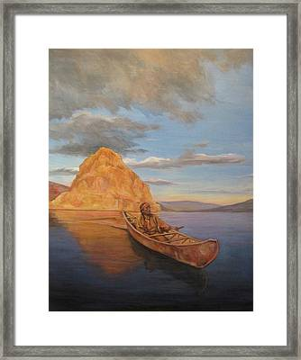 Indian On Lake Pyramid Framed Print by Donna Tucker