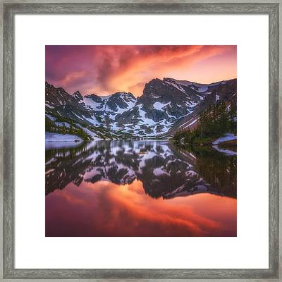 Indian Peaks Reflection Framed Print