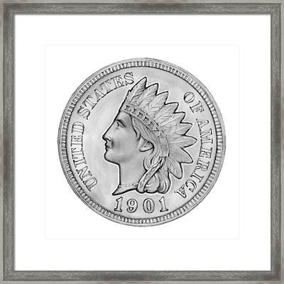 Indian Penny Framed Print by Greg Joens
