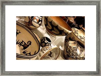 Indian Pottery Framed Print by Linda  Parker