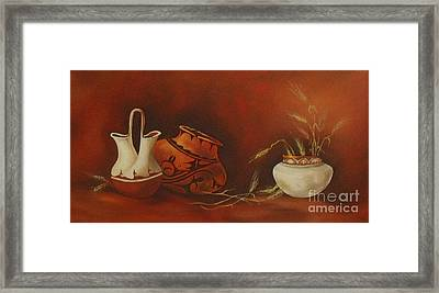 Indian Pottery With Wheat Framed Print by Ann Kleinpeter