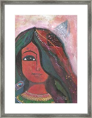 Framed Print featuring the mixed media Indian Rajasthani Woman by Prerna Poojara