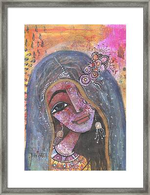 Framed Print featuring the mixed media Indian Rajasthani Woman With Colorful Background  by Prerna Poojara