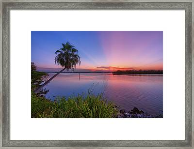 Indian River State Park Bursting Sunset Framed Print