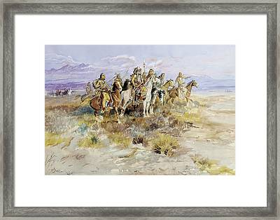 Indian Scouting Party Framed Print by Charles Marion Russell