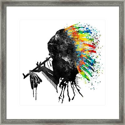 Indian Silhouette With Colorful Headdress Framed Print