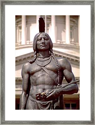 Indian Statue At Utah State Capitol Framed Print by Steve Ohlsen
