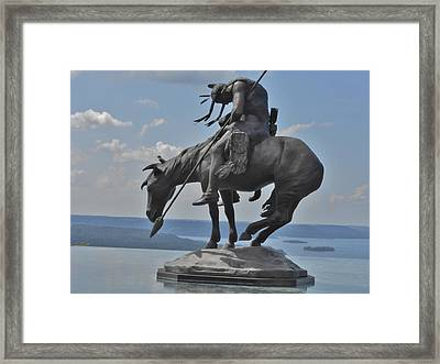 Indian Statue Infinity Pool Framed Print by Julie Grace