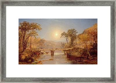 Indian Summer On The Delaware River Framed Print by Jasper Francis Cropsey