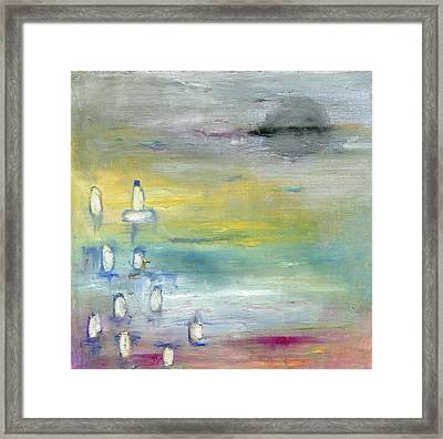 Indian Summer Over The Pond Framed Print by Michal Mitak Mahgerefteh