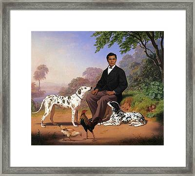 Indian With Dog Framed Print by Charles Christian