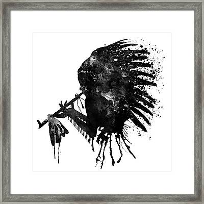 Indian With Headdress Black And White Silhouette Framed Print by Marian Voicu