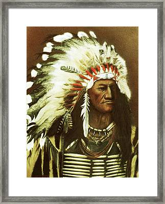 Indian With Headdress Framed Print by Martin Howard