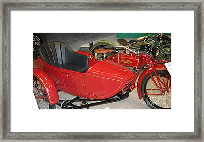 Indian With Side Car   # Framed Print by Rob Luzier