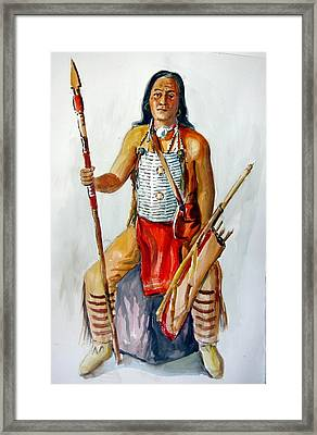 Indian With Spear And Arrows Framed Print by Murray Keshner