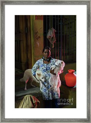 Indian Woman And Her Dogs Framed Print