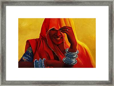 Indian Woman In Veil Framed Print by Arti Chauhan
