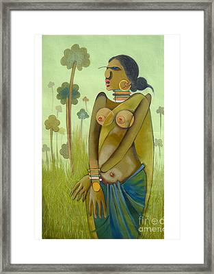 Indian Woman Framed Print by Praveen Dhenge