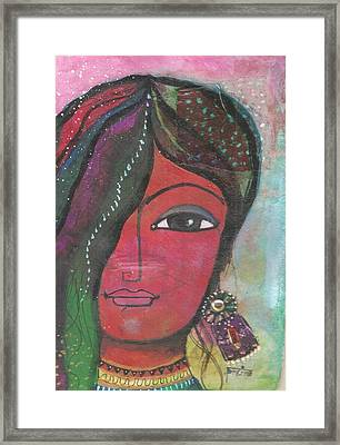 Indian Woman Rajasthani Colorful Framed Print