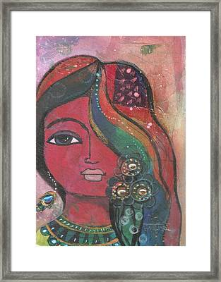 Framed Print featuring the mixed media Indian Woman With Flowers  by Prerna Poojara