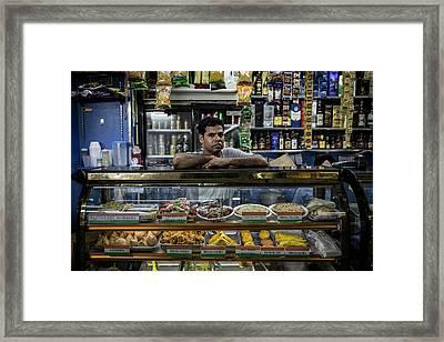 Indian Worker From Kolkata Running A Grocery Store Inside Chunki Framed Print