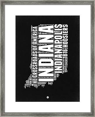 Indiana Black And White Word Cloud Map Framed Print by Naxart Studio