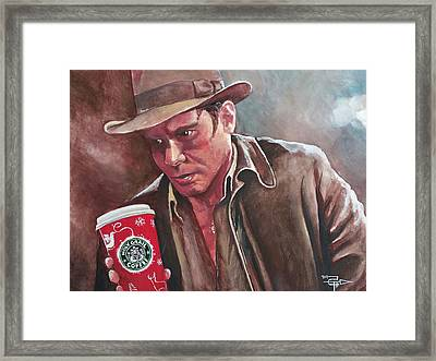Indiana Jones And The Holy Java Framed Print by Tom Carlton