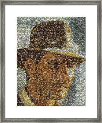 Framed Print featuring the mixed media Indiana Jones Treasure Coins Mosaic by Paul Van Scott