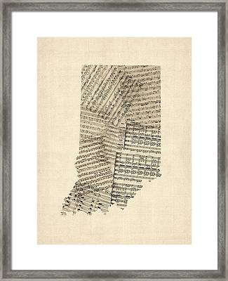 Indiana Map, Old Sheet Music Map Framed Print by Michael Tompsett