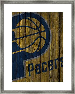 Indiana Pacers Wood Fence Framed Print