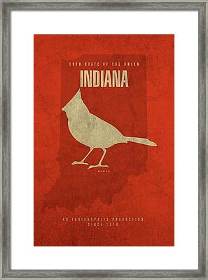 Indiana State Facts Minimalist Movie Poster Art Framed Print by Design Turnpike