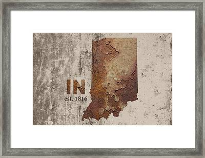 Indiana State Map Industrial Rusted Metal On Cement Wall With Founding Date Series 032 Framed Print by Design Turnpike