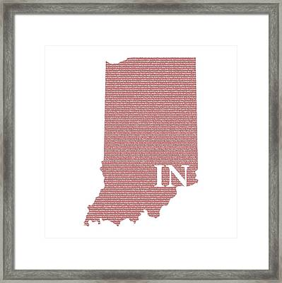 Indiana State Map With Text Of Constitution Framed Print by Design Turnpike