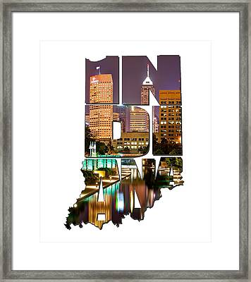 Indiana Typography - Indianapolis Skyline - Canal Walk Bridge View Framed Print by Gregory Ballos