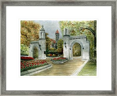 Indiana University Sample Gates Framed Print by Ted Reeves