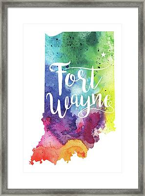 Indiana Watercolor Map - Fort Wayne Hand Lettering  Framed Print