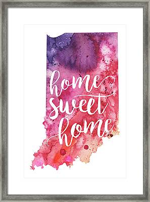 Indiana Watercolor Map - Home Sweet Home Hand Lettering  Framed Print