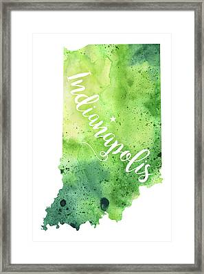 Indiana Watercolor Map - Indianapolis Hand Lettering  Framed Print