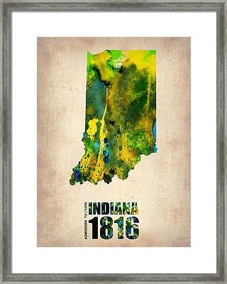 Indiana Watercolor Map Framed Print by Naxart Studio