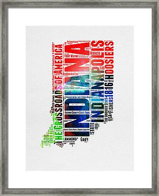 Indiana Watercolor Word Cloud Map  Framed Print by Naxart Studio