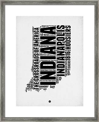 Indiana Word Cloud Map 2 Framed Print by Naxart Studio