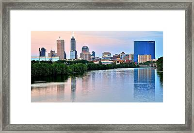 Indianapolis At Dusk Framed Print by Frozen in Time Fine Art Photography