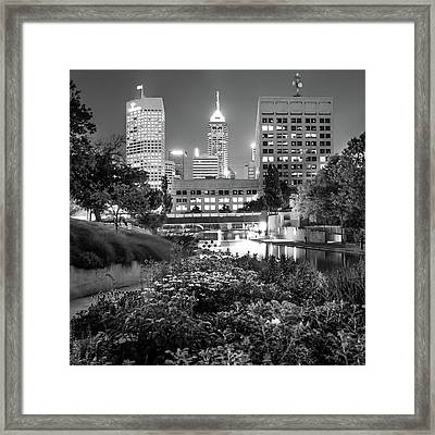Indianapolis Canal Walk Skyline Black And White 1x1  Framed Print by Gregory Ballos