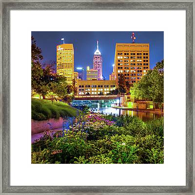 Indianapolis Canal Walk Skyline Vibrant Color 1x1  Framed Print by Gregory Ballos